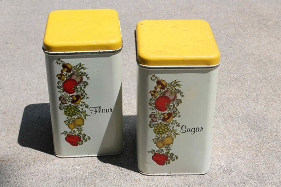 Vintage Metal Canister Set of 2 - Veggies with Yellow Lids