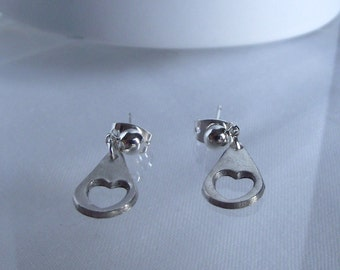 Handmade Tear Drop Love Heart Pure Silver  Earrings