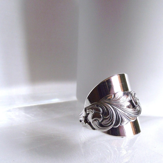 Beautifully Detailed Art Nouveau Handmade Antique Silver Spoon Ring TH Marthinsen