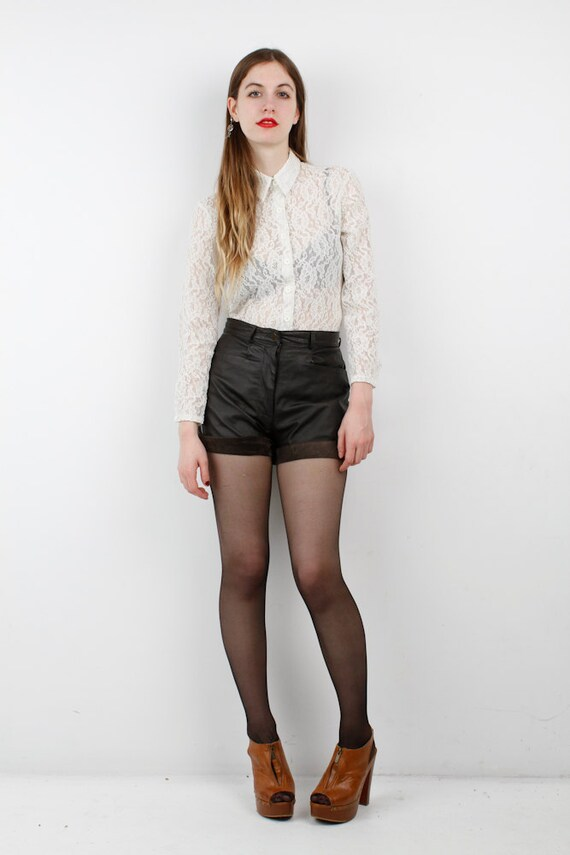 Vintage High Waisted Leather Shorts