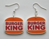 Burger King  Logo  Dangle Novelty Earrings