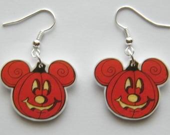 Mickey Mouse Pumpkin Jack o Lantern Halloween Dangle  Earrings Jewelry
