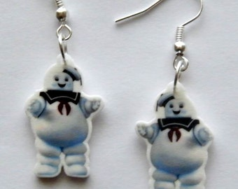 Ghost Busters Stay Puff Marshmallow Man Earrings Jewelery