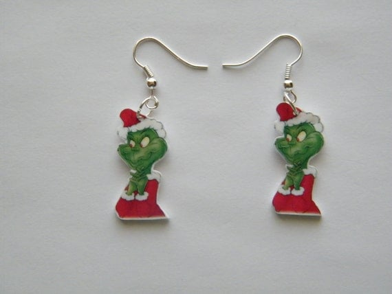 new dr suess the grinch novelty earrings by murals4u
