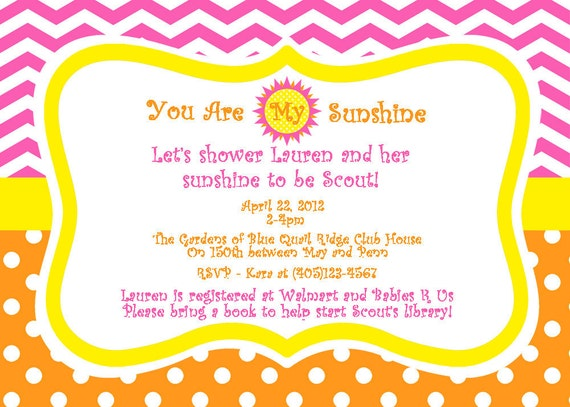 you are my sunshine baby shower invitation girls baby shower