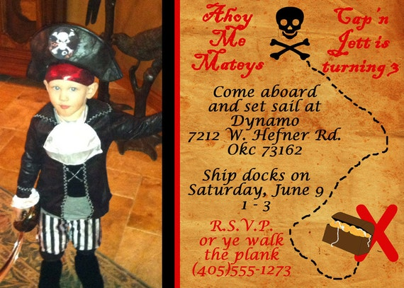 Boys Pirate Party Invitation - Pirate Birthday Invitation - PRINTABLE Custom Photo Invitation and Thank You Card