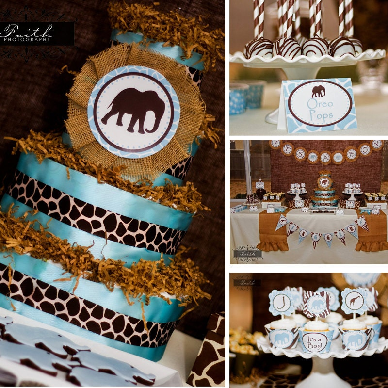 safari baby shower blue and brown boy baby shower