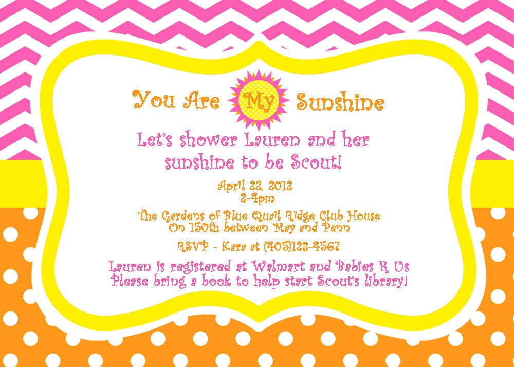 you are my sunshine baby shower invitation by lillianhopedesigns