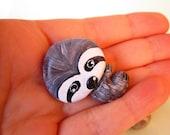 The Calm Sloth brooch,clay animal pin, sloth figurine