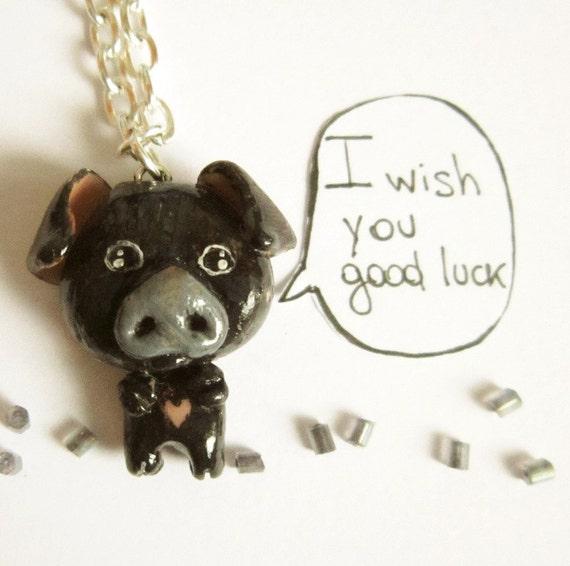 Pig necklace, Kawaii  Black pig,  good luck charm, animal totem