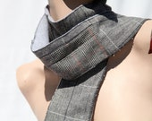 Upcycled scarf made from tweed suits and REALLY soft grey fleece. Grey, black, and red.