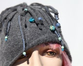 Upcycled, felted wool octopus hat. Grey with blue beads and thread.