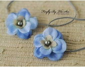 RTS Special edition TWIN SET flower headbands in blue and grey tones with pearl center on skinny elastic great photo prop