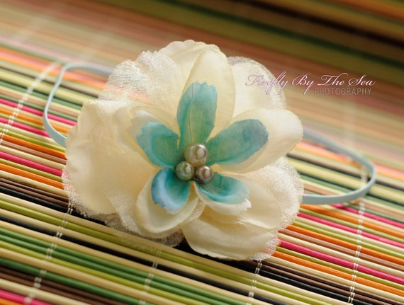 RTS Flower headband in tulle, white and blue tones with multiple pearl center on a baby blue skinny elastic great photo prop