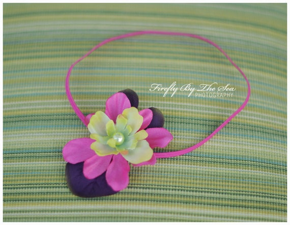 ON SALE RTS purple flower headband in purple, hot pink and green tones with a pearl center on skinny elastic, great photo prop or daily use