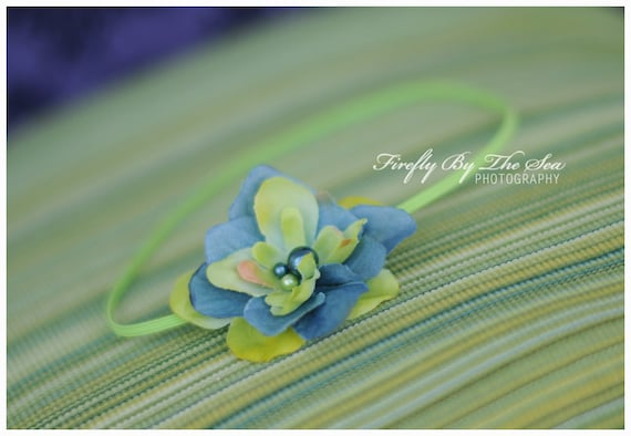 Ready to ship flower headband in green and blue tones with a pearl center on skinny elastic, great photo prop or daily use