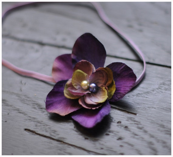 Ready to ship flower headband in violet and sage green tones with a pearl center on skinny elastic, great photo prop or daily use