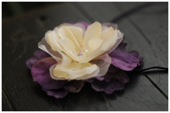 RTS flower headband in off - white, tulle and purple tones with a pearl center on skinny elastic, great photo prop or daily use