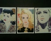 Sticker set 6: Hedy Lamarr, Ann Margret and Edie Sedgewick