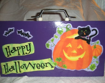 Happy Halloween Purple Cigar Box Purse Fall Fashion Accessory Ready to ship