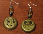 Stone Upcycled Bottle Cap Earrings