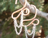 10 Gauge Copper Earrings draped in Chains.