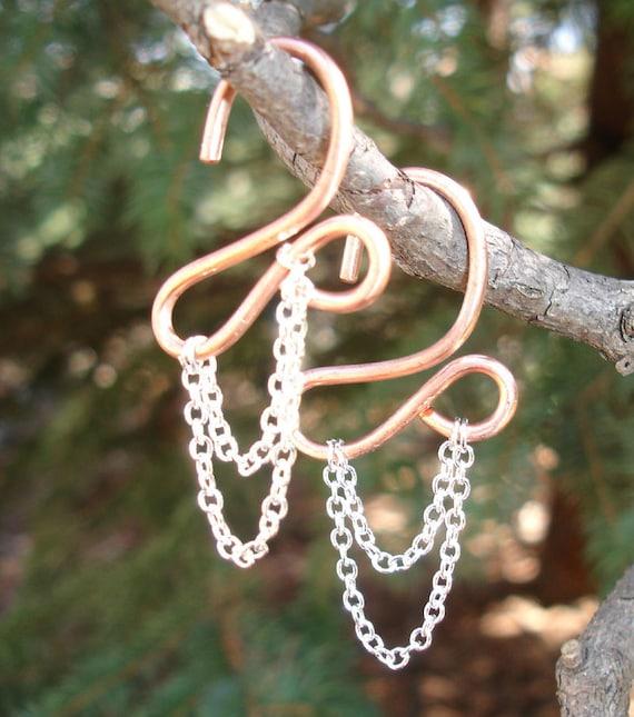 10 Gauge Copper Earrings draped in Chains.