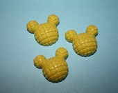 Yellow mouse head outline cabochons - 3 piece set (21mm) - MMC