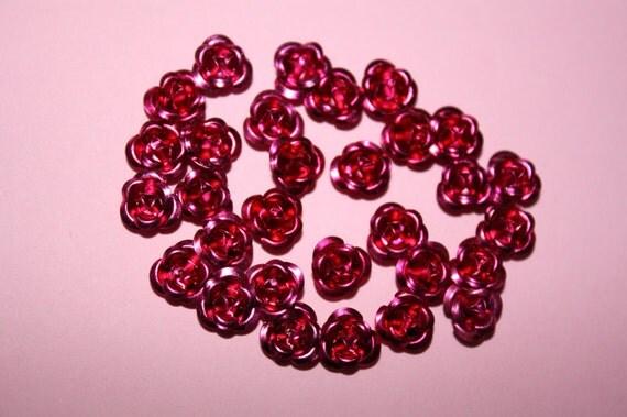 TINY bright fuchsia aluminum roses - 30 piece set (6mm) - MMO