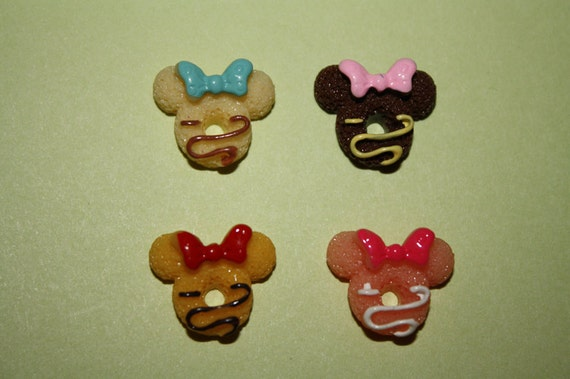 Cute and colorful mouse heads w/ bows - 4 piece set (14mm) - MMJ