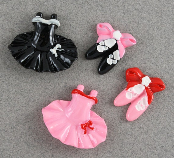 Sweet ballet slippers & tutu cabochons - 4 piece set (24mm and 20mm) - MMC