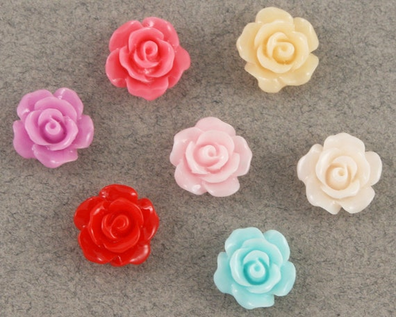Delicate tiny rose cabochons - 7 piece set (8mm) - MME