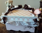 Pink And Brown Wooden Keepsake Baby Box (With Teddy)