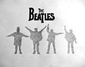 Beatles silhouette made from Help lyrics