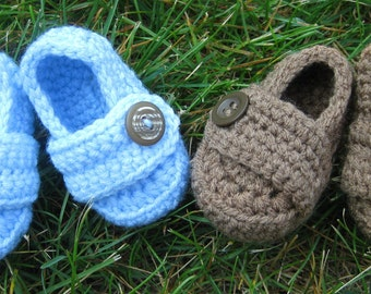 Loafer Booties with Button - Baby Boy - Any Color/Size - Shoes Slippers - Newborn Shower Gift - Knit Crochet