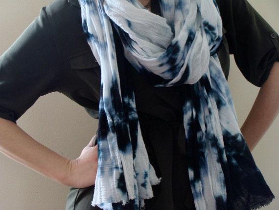 Tie Dye Scarf Hand Dyed Lightweight Cotton Gauze Wrap Black White Shibori