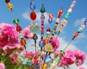 Beaded Blossoms -- Garden Bead Art -  Wire Suncatcher Sculptures - Beaded Flowers by Pamlico Designs