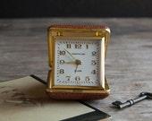 Travel Alarm Clock - Vintage Brown Westclox Wind Up