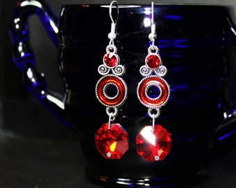 Valentine's Day Red and Silver dangle earrings with crystal octogon