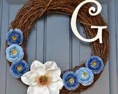 Personalized Silk Flower Front Door Wreath