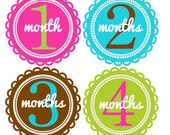 Monthly Baby Stickers, Baby Girl in Colorful Scallops, New Favorite Baby Shower Gift, Baby Keepsake Photos G122