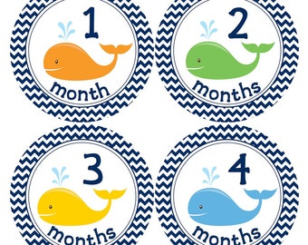 READY TO SHIP Baby Stickers - Monthly Stickers for Baby Boys...Navy Blue Chevron and Whales...Favorite Baby Shower Gift for New Moms - B127