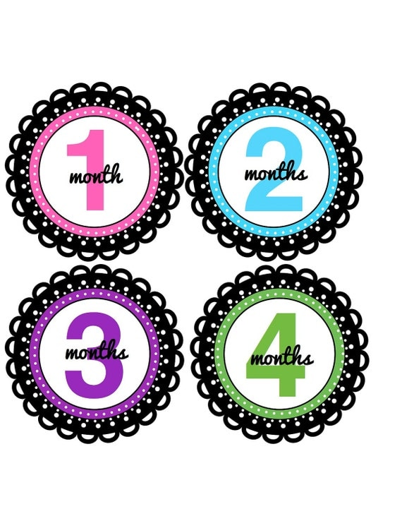 Baby Girl Month Stickers Newborn Baby Girl Gift Monthly Baby Stickers Bodysuit Stickers Babyvest Stickers Baby Decals