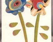 ART DECO FLOWERS handmade collage blank greeting card