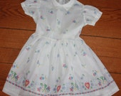 Vintage 1950's Lil Airess White Gauz Girl's Summer Dress with Flower Print Patterns - SZ 5