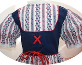 VTG Youngland - 1960's Retro Euro - Heidi Style Dress in Red White Blue, Navy Bodice with Red Ties - Flared Skirt -  Girl Size 7 or 8