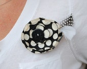 Polka Dot Chiffon Flower Pin with Feather Accents