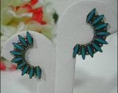 Fabulous Vintage Sterling and Turquoise Petit Point Native American Earrings