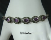 Lovely Vintage Circa 1984 Sterling 925 Bracelet With Marcasites and Amethyst Colored Stones