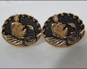 Great Pair Of Signed ANSON Vintage Snake Charmer Goldtone Cufflinks